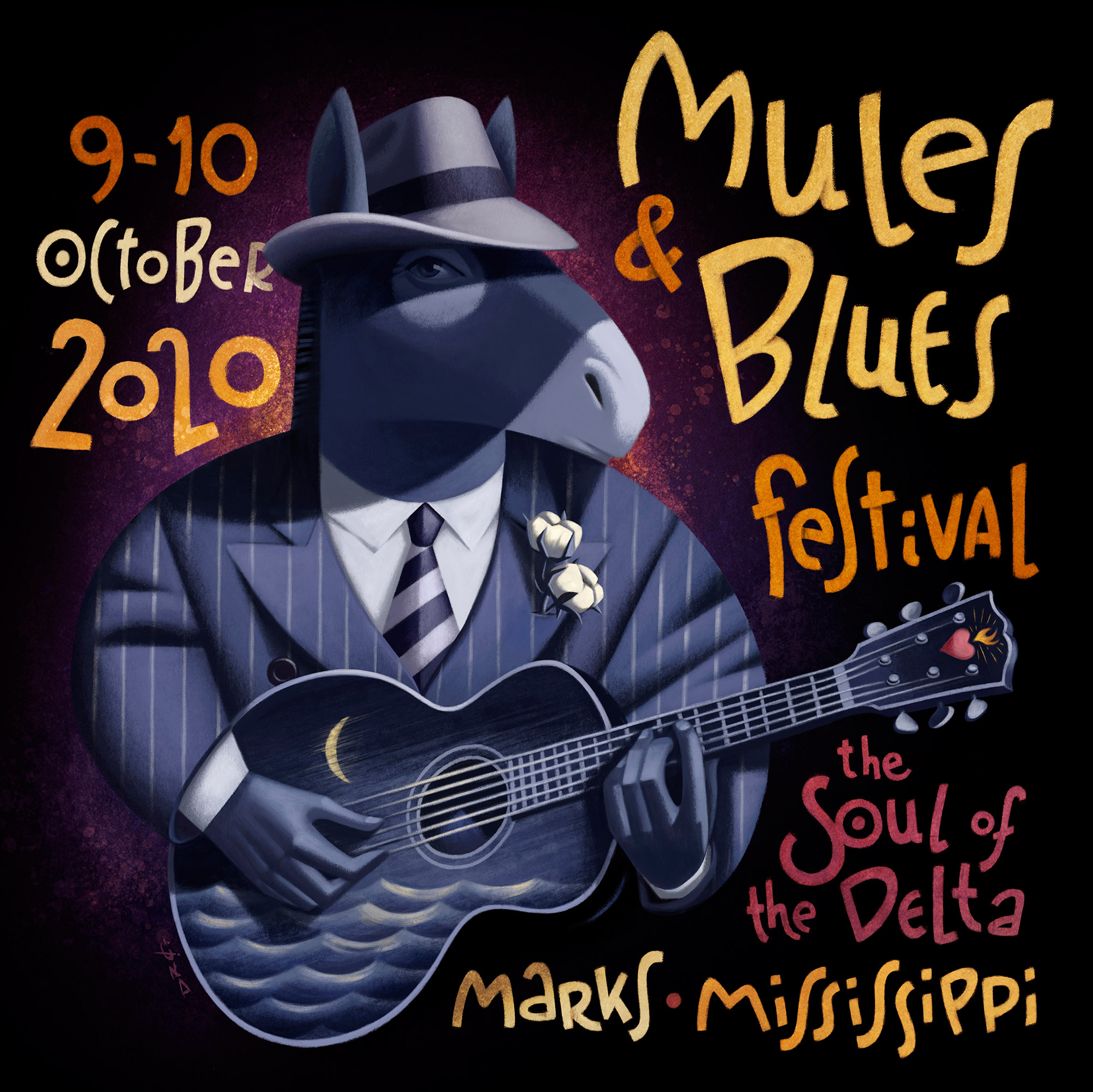 www.davidderamon.com - illustration - mules and blues
